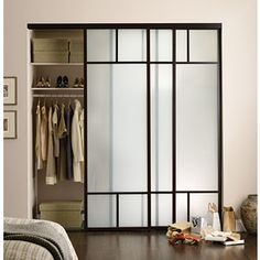 Sliding Glass Closet Doors With Frosted Glass, Duo T Frame Design, And  Charcoal Frame Finish.