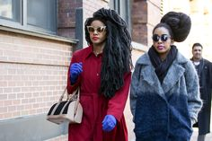 Beauty Street Stalking: Fashion Week Edition #refinery29  http://www.refinery29.com/2015/02/82619/best-beauty-nyfw-2015-street-style-pictures#slide-27  Cipriana Quann and TK Wonder just dominated the hair game. And, while they were at it, they did the same with the style game. And the sunglasses game. And what are those lip colors?