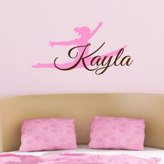 Gymnast Wall Decal Dance Wall Decal Girls Bedroom Dance Stars Dancing Name  White Balance Olympics Competition USA Team | Sports Decals | Pinterest |  Wall ...