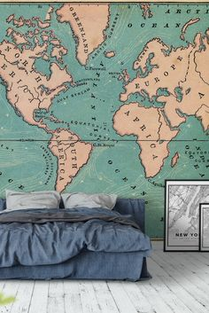 59 best map wall murals images on pinterest world map retro wall mural gumiabroncs Image collections