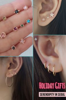Serendipity in Seoul offers modern and minimalist everyday jewelry, specializing on layering cartilage earrings, ear cuffs, stacking rings and necklaces. Cartilage Earrings, Ear Piercings, Hoop Earrings, Jewelry Gifts, Fine Jewelry, Minimal Jewelry, Jewelry Branding, Brown Hair, Holiday Gifts