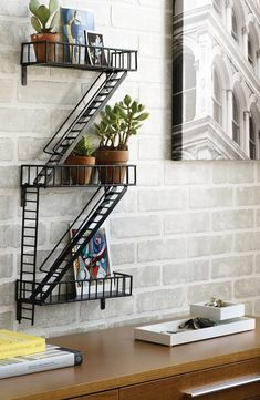 This fire escape shelf is such a fun decor piece.
