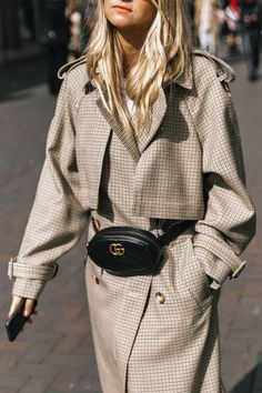 .Neutral patterned plaid coat