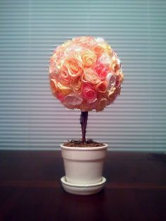 Topiary Tree made from Coffee Filters, a stick from outside and an old pot!!!! so much fun!~vibrant Living~