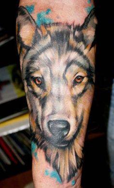 Grey Ink Dog Head Fine Tattoo