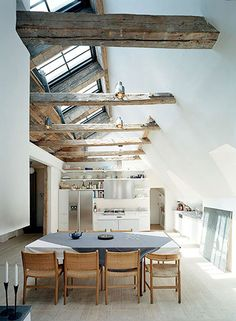 The rough exposed beams contrast beautifully with the clean, contemporary furnishing  kitchen ☆