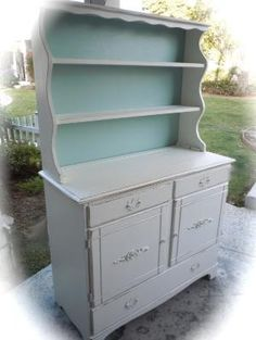 Shabby Chic Hutch Cabinet in White and Tiffany Blue/Country French style. $595.00, via Etsy. by noemi