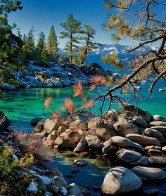 Lake Tahoe photo by mark schneider. Lake Tahoe in the fall is a seriously underated time of year. The scenery is absolutely amazing and makes for spectacular hikes. Lake Tahoe Nevada, Tahoe California, California Travel, Lago Tahoe, Places To Travel, Places To See, Voyage Usa, Clearwater Beach, All Nature