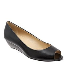 Another great find on #zulily! Black Lonnie Leather Wedge by Trotters #zulilyfinds