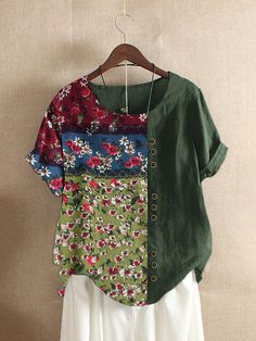 Fashionable Floral Print Patchwork Button Vintage T-shirt Online - NewChic Mobile T Shirts With Sayings, Cute Shirts, Fall Shirts, Summer Shirts, Funny Shirts, Stylish Outfits, Fashion Outfits, Stylish Clothes, Diy Clothes
