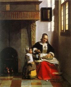 Pieter de Hooch  Woman Peeling Apples