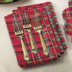 Set of Four Tartan Plaid Napkins - Stylish Home Accents and Décor - Graceful Clothing, Accessories & Jewelry