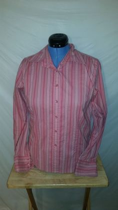 Womens Talbots Stretch Pink Striped Long Sleeve Button Up Blouse Medium M  #Talbots #Blouse