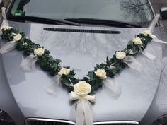 Wedding Decoration for Bride Car car ornaments car Garland - Hochzeit - Autoschmuck - Wedding Bride, Wedding Flowers, Dream Wedding, Wedding Day, Floral Bouquets, Floral Wreath, Just Married Car, Bridal Car, Wedding Car Decorations