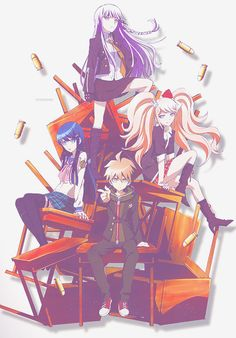 Kyoko Kirigiri, Sayaka Maizono, Junko Enoshima (Mukuro ikusaba ) and Naegi Makoto // DanganRonpa trigger happy havoc