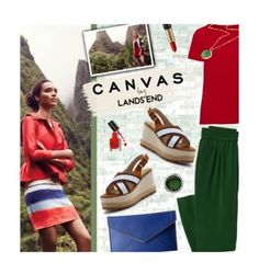 """Paint Your Look With Canvas by Lands' End: Contest Entry"" by edenslove ❤ liked on Polyvore featuring Lands' End, Canvas by Lands' End, Rebecca Minkoff, Lancôme and Bobbi Brown Cosmetics"