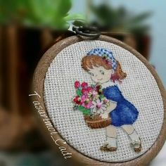A girl with a flower basket hoop frame by WITCHSCAULDRON on Etsy
