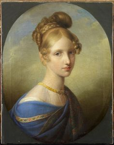 Archduchess Maria Clementina of Austria, daughter of HRE Francis II and his wife Maria Amalia. Younger sister of Marie Louise, Empress of France, Ferdinand I of Austria, and Maria Leopoldina, Empress of Brazil. Older sister of Marie Caroline, Crown Princess of Saxony, Archduke Franz Karl of Austria, and Archduchess Maria Anna of Austria. Married to her mother's younger brother, Prince Leopoldo of the Two Sicilies,Prince of Salerno, youngest son of King Ferdinand I of the Two Sicilies.