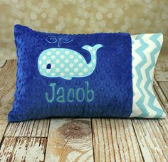 Personalized Whale Toddler or Travel Pillow - You Choose Fabrics on Etsy, $34.00. Want to do yellow and grey with an elephant or giraffe for Declan!