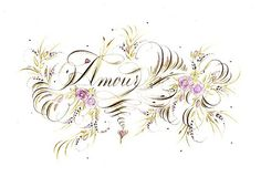 copperplate calligraphy | Copperplate Calligraphy 'Amour' Flourish by Heather Victoria