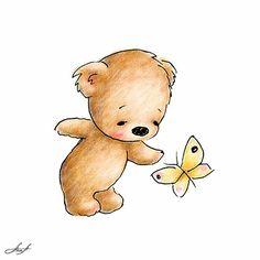 Baby Bear by Anna Abramskaya, via Behance Sweet Drawings, Cute Animal Drawings, Baby Painting, Painting For Kids, Teddy Bear Tattoos, Baby Clip Art, Baby Drawing, Tatty Teddy, Cute Teddy Bears