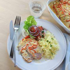 Het kasslergratäng   Recept   WW Sverige 20 Min, Tortellini, Food And Drink, Healthy Recipes, Meat, Chicken, Ethnic Recipes, Mat 10, God