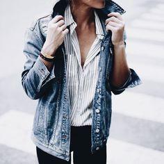 Denim Jacket | Striped Button Up Cotton Shirt | Casual | Dressy