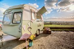 Fab picture of Olive, the vintage ice cream caravan.