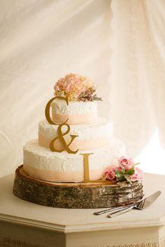 Spice cake wedding cake! Blush and gold. fall backyard rustic wedding