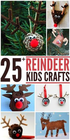 25+ Reindeer Crafts for Kids. Great christmas and winter projects to keep the kiddos busy! Give some as gifts too! livelaughrowe.com