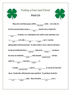 Students of all ages will enjoy this mad lib as a way to acknowledge St. This is a great motivational tool to read, learn parts of speech, and to work on spelling and vocabulary skills. St Patricks Day Pictures, St Patricks Day Crafts For Kids, St Patrick's Day Crafts, School Holiday Party, School Holidays, 4 H Clover, St Patrick's Day Games, 4 H Club, St Patrick Day Activities