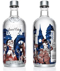 Absolut has launched a limited-edition, London-themed bottle, featuring a unique design by Jamie Hewlett.  Hewlett's design is a take on London's style and fashion pioneers over the past 200 years. Set against a familiar London backdrop, featuring iconic buildings such as St Paul's Cathedral and the Gherkin, the illustration features seven characters, including the 18th century dandy, the pinstripe gent, 60s chick, punk and 80s casual.
