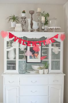 top of cabinet, chicken wire, .. love this for my china cabinet