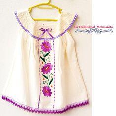 Baby Embroidered Dress by MexicanTraditional on Etsy Girls Frock Design, Kids Frocks Design, Baby Frocks Designs, Baby Girl Frocks, Frocks For Girls, Little Girl Dresses, Girls Kaftan, Girl Dress Patterns, Baby Dress