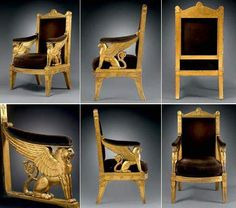Unique and majestic ceremonial armchair for Napoleon's Throne room at the Tuileries Palace, designed by Percier and Fontaine and made by Jacob-Desmalter in 1804.