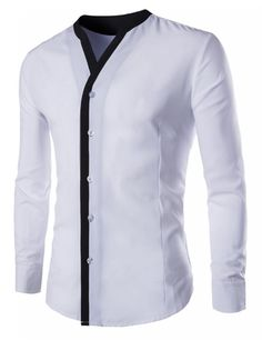 YesFashion Men's Placket Contrast Color Stand Collar Long Sleeve Slim Fit Shirt White M - Shirts - Men
