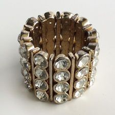 Gold tone round faceted white rhinestones stretch ring Lot 37