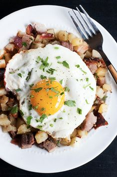 This easy yet satisfying breakfast hash is the perfect use for leftover ham after a big holiday feast. It hits all the right notes; salty bacon and ham mixed with sweet apples, and a little spice from the cayenne.