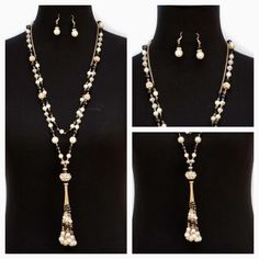 ONLY 2 LEFT of our Double Strand Pearl And Black Necklace And Earring Set, 15% off with code HOL15 plus Free US Shipping on this Cyber Monday!  www.jacketsociety.com/shop