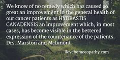 We know of no remedy which has caused so great an improvement in the general health of our cancer patients as HYDRASTIS CANADENSIS an improvement which, in most cases, has become visible in the bettered expression of the countenance of the patients. Drs. Marston and Mclimont