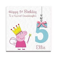 Handmade Personalised Girls Daughter Granddaughter Peppa Pig Birthday Card