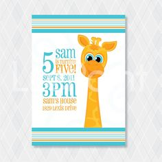 "Children's Giraffe Birthday Invitation, Ready to Print Digital File & Personalized - ""George the Giraffe"""