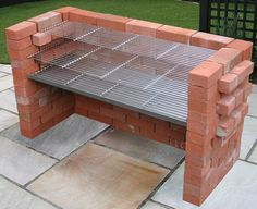 Extra Large 100 Stainless Steel Heavy Duty DIY Brick Charcoal BBQ Kit for sale online Diy Grill, Barbecue Grill, Bbq Bar, Garden Bbq Ideas, Barbeque Design, Brick Grill, Piscine Diy, Large Bbq, Charcoal Bbq