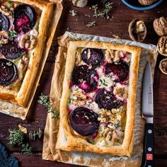 Super easy goat's cheese and beet tart - a delicious vegetarian starter or light lunch.