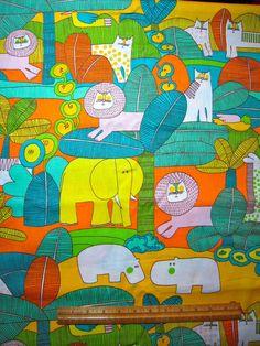 """Vintage Cotton Fabric 60s70s Waverly """"Jungle Book"""" NOVELTY 45w 2yds   eBay"""