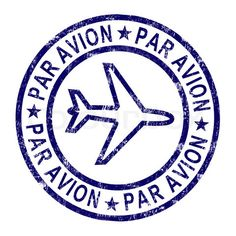 Stock image of 'Par Avion Stamp Shows Correspondence Overseas By Plane'