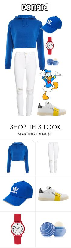 """Donald Duck"" by clyx ❤ liked on Polyvore featuring Topshop, DL1961 Premium Denim, adidas, Dolce&Gabbana, GUESS, Eos and disney"