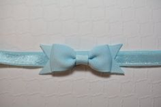 Light Blue Bow Headband / Small Baby Bow Headband / Easter