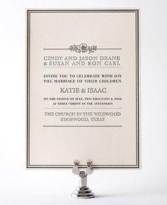 Wildwood Letterpress Wedding Invitation