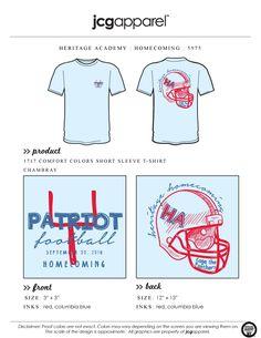 JCG Apparel : Custom Printed Apparel : Heritage Academy Homecoming T-Shirt #heritageacademy #football #homecoming #jcgapparel